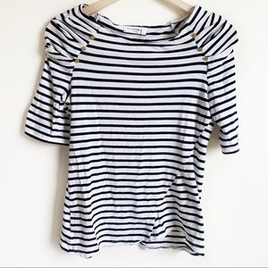 Anthropologie Pilcro Top 3/4 Sleeve Striped Size M